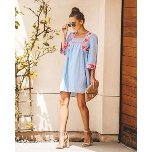 VICI Embroidered Chambray Dress